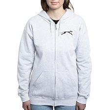 Sleek Greyhound Art Zip Hoodie