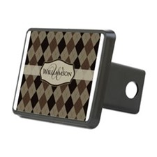 Brown Argyle Monogram Name Hitch Cover