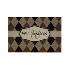 Brown Argyle Monogram Name Rectangle Magnet