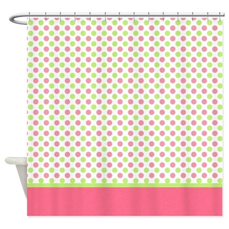 green pink polka dot shower curtain by