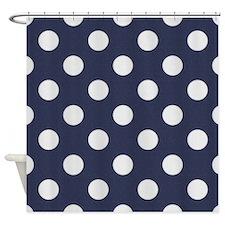 Dark Blue with Big White Dots Shower Curtain