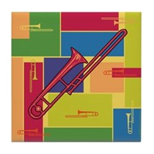 Trombone Colorblocks Tile Coaster