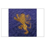 Rampant Lion - gold on blue Posters