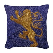 Rampant Lion - gold on blue Woven Throw Pillow
