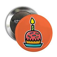 """Birthday Cake (orange) 2.25"""" Button (10)"""
