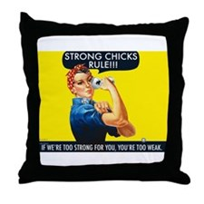 Strong Chicks Throw Pillow