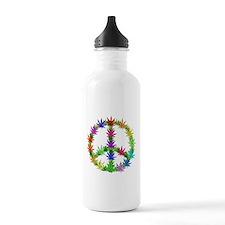 Rainbow Peace Marijuana Leaf Art Water Bottle
