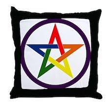Rainbow Pentacle Throw Pillow