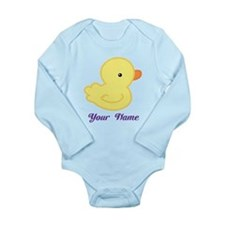 Personalized Yellow Duck Long Sleeve Infant Bodysu
