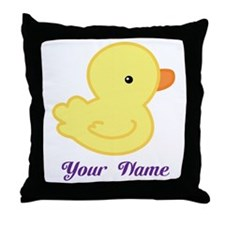 Personalized Yellow Duck Throw Pillow