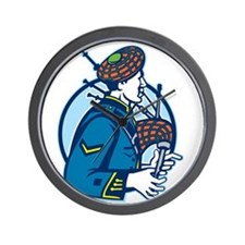 Bagpiper Bagpipes Scotsman Retro Wall Clock
