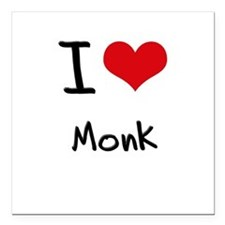"I Love Monk Square Car Magnet 3"" x 3"""