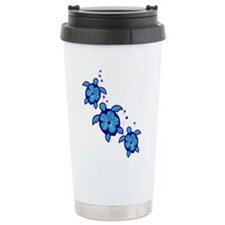 Blue Hibiscus Honu Turtles Travel Mug