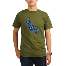 Blue Hibiscus Honu Turtles T-Shirt