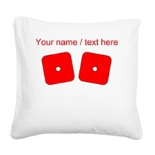 Custom Red Dice Snake Eyes Square Canvas Pillow