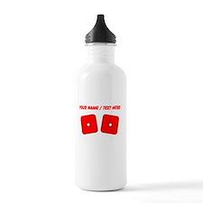 Custom Red Dice Snake Eyes Water Bottle