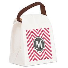 Pink Monogram Zigzag Pattern Canvas Lunch Bag