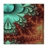 Rusted Turquoise Fractal Tile Coaster