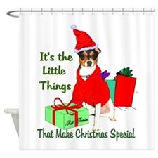 Rat Terrier Christmas Shower Curtain