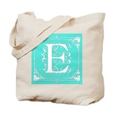 Fancy Border Seafoam Green Initial E Tote Bag