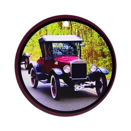 Vintage Car Ornament (Round)