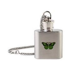 Green Fairy Wings Spread Flask Necklace