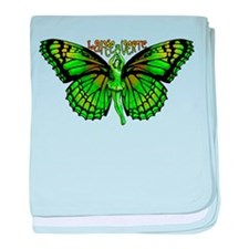 Green Fairy Wings Spread baby blanket