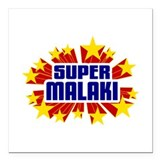 "Malaki the Super Hero Square Car Magnet 3"" x 3"""