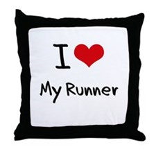 I Love My Runner Throw Pillow