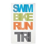 SWIM BIKE RUN TRI 3'x5' Area Rug