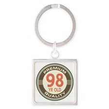 98th Birthday Vintage Square Keychain