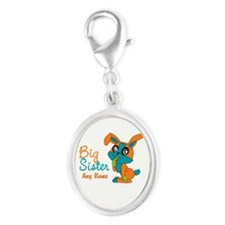 Personalized Rabbit Big Sister Silver Oval Charm