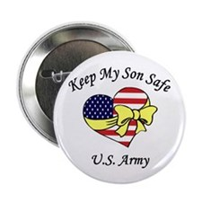 US Army Mom & Dad Keep My Son Safe Button