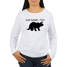Custom Triceratops Silhouette Long Sleeve T-Shirt