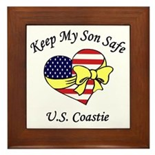 Coast Guard Mom & Dad Keep My Son Safe Framed Tile