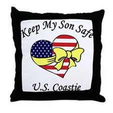 Coast Guard Mom & Dad Keep My Son Safe Throw Pillo