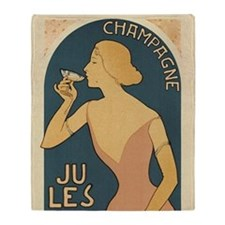 Vintage Champagne Art Throw Blanket