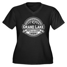 Grand Lake Grey Women's Plus Size V-Neck Dark T-Sh