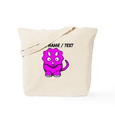 Custom Pink Cartoon Triceratops Tote Bag