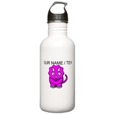 Custom Pink Cartoon Triceratops Water Bottle