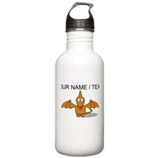 Custom Orange Pterodactyl Cartoon Water Bottle