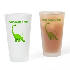 Custom Green Brontosaurus Drinking Glass