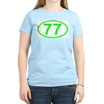 Number 77 Oval Women's Pink T-Shirt
