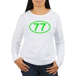 Number 77 Oval Women's Long Sleeve T-Shirt