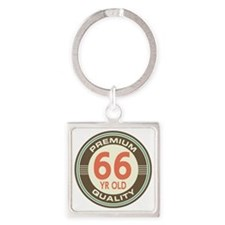 66th Birthday Vintage Square Keychain