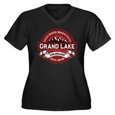 Grand Lake Red Women's Plus Size V-Neck Dark T-Shi