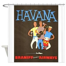 Havana, Cuba, Travel, Vintage Poster Shower Curtai