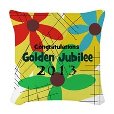 Golden Jubilee Woven Throw Pillow