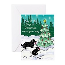 Newfies Decorate the Tree Greeting Cards (Pk of 20