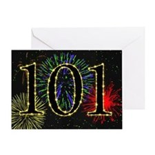 101st Birthday with fireworks Greeting Card